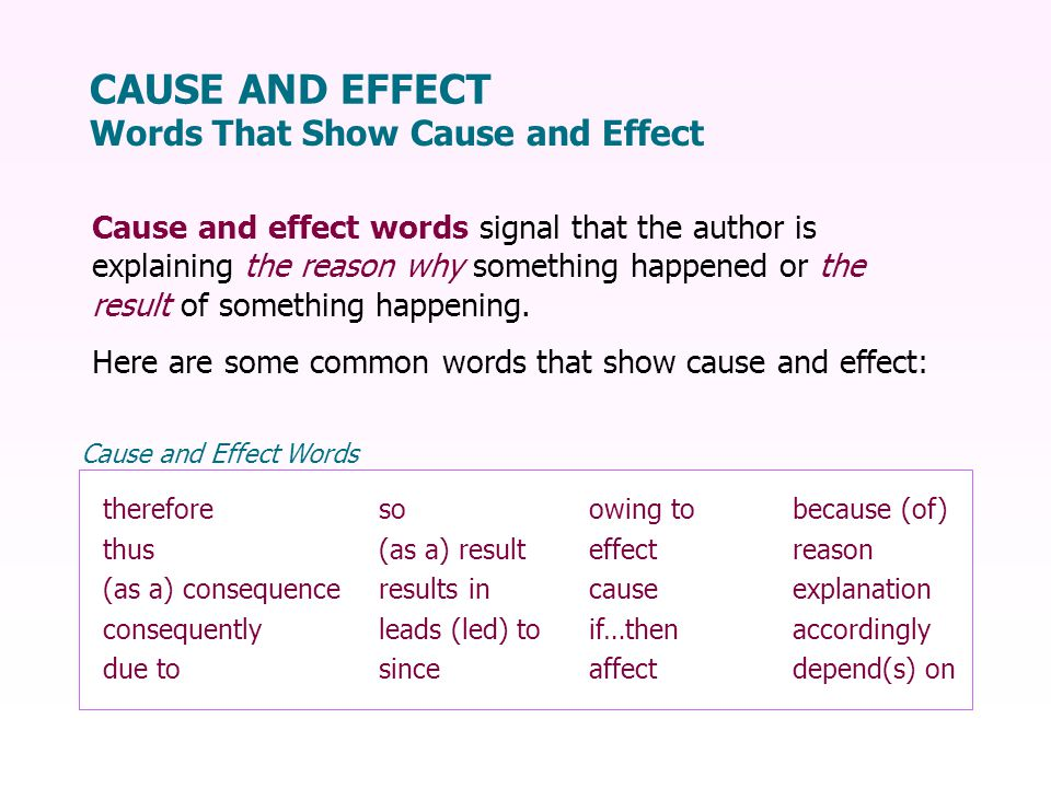 Cause and effect words signal that the author is explaining the reason why something happened or the result of something happening.