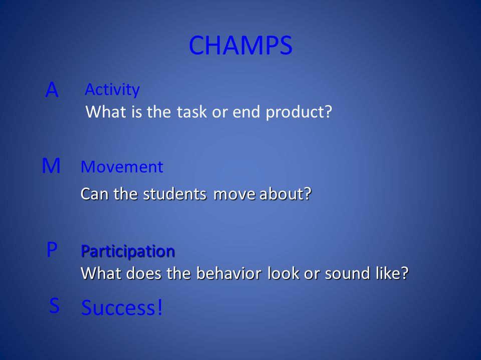 Task 1: Expectations for Instructional Activities The first step in defining your behavioral expectations is to make a list of activities in which your students will participate on a day to day basis.