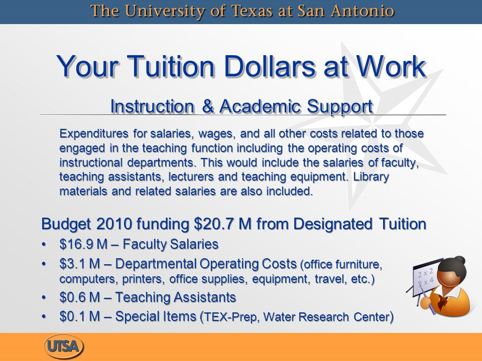 Your Tuition Dollars at Work Instruction & Academic Support Expenditures for salaries, wages, and all other costs related to those engaged in the teaching function including the operating costs of instructional departments.