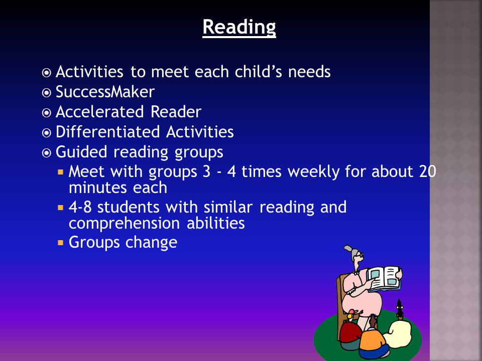 Reading  Activities to meet each child's needs  SuccessMaker  Accelerated Reader  Differentiated Activities  Guided reading groups  Meet with groups 3 - 4 times weekly for about 20 minutes each  4-8 students with similar reading and comprehension abilities  Groups change