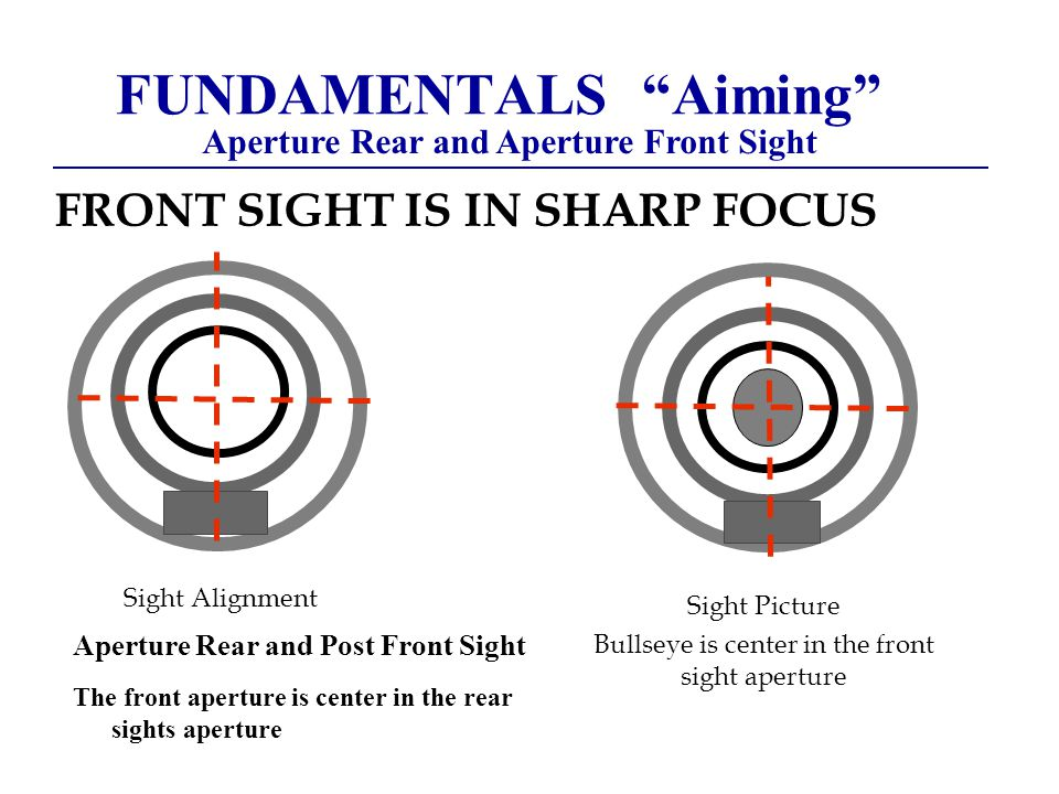 FUNDAMENTALS Aiming Aperture Rear and Aperture Front Sight FRONT SIGHT IS IN SHARP FOCUS Sight Alignment Sight Picture Bullseye is center in the front sight aperture Aperture Rear and Post Front Sight The front aperture is center in the rear sights aperture