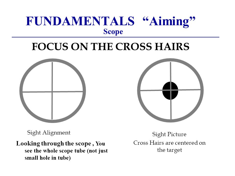 FUNDAMENTALS Aiming Scope FOCUS ON THE CROSS HAIRS Sight Alignment Sight Picture Cross Hairs are centered on the target Looking through the scope, You see the whole scope tube (not just small hole in tube)