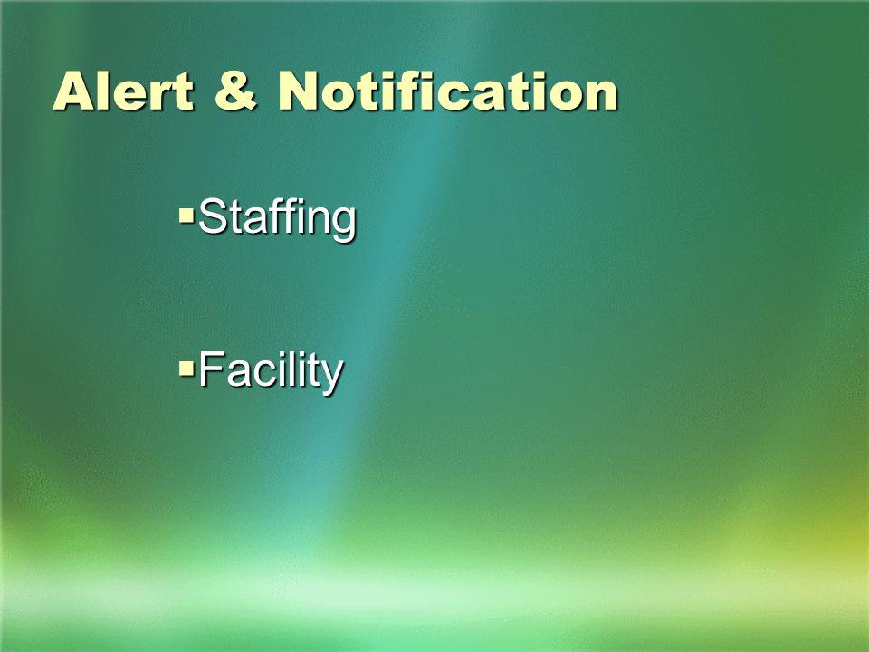 Alert & Notification  Staffing  Facility