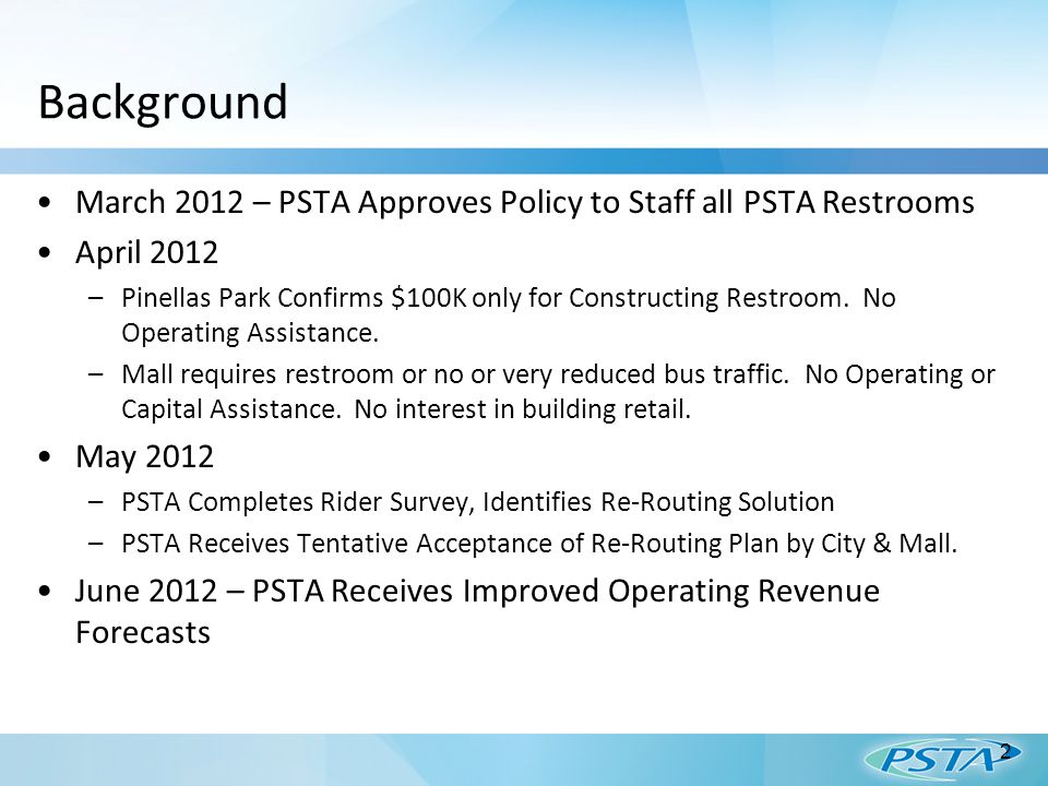 Background March 2012 – PSTA Approves Policy to Staff all PSTA Restrooms April 2012 –Pinellas Park Confirms $100K only for Constructing Restroom.