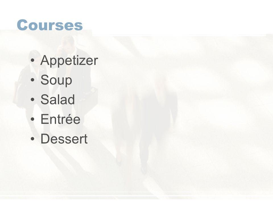 Courses Appetizer Soup Salad Entrée Dessert