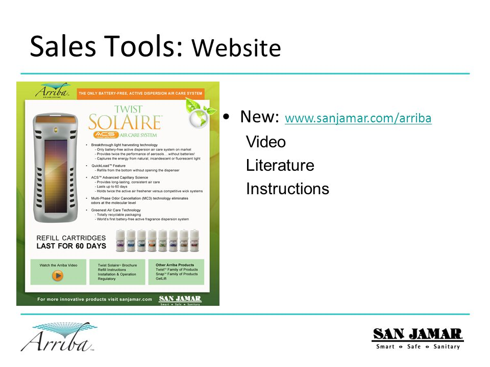 Sales Tools: Website New: www.sanjamar.com/arriba www.sanjamar.com/arriba Video Literature Instructions