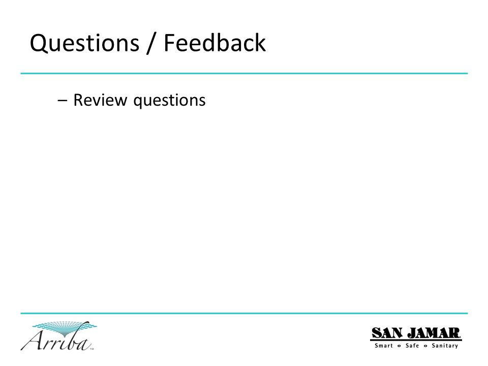 Questions / Feedback –Review questions