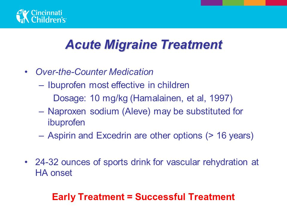 Acute Migraine Treatment Over-the-Counter Medication –Ibuprofen most effective in children Dosage: 10 mg/kg (Hamalainen, et al, 1997) –Naproxen sodium (Aleve) may be substituted for ibuprofen –Aspirin and Excedrin are other options (> 16 years) 24-32 ounces of sports drink for vascular rehydration at HA onset Early Treatment = Successful Treatment