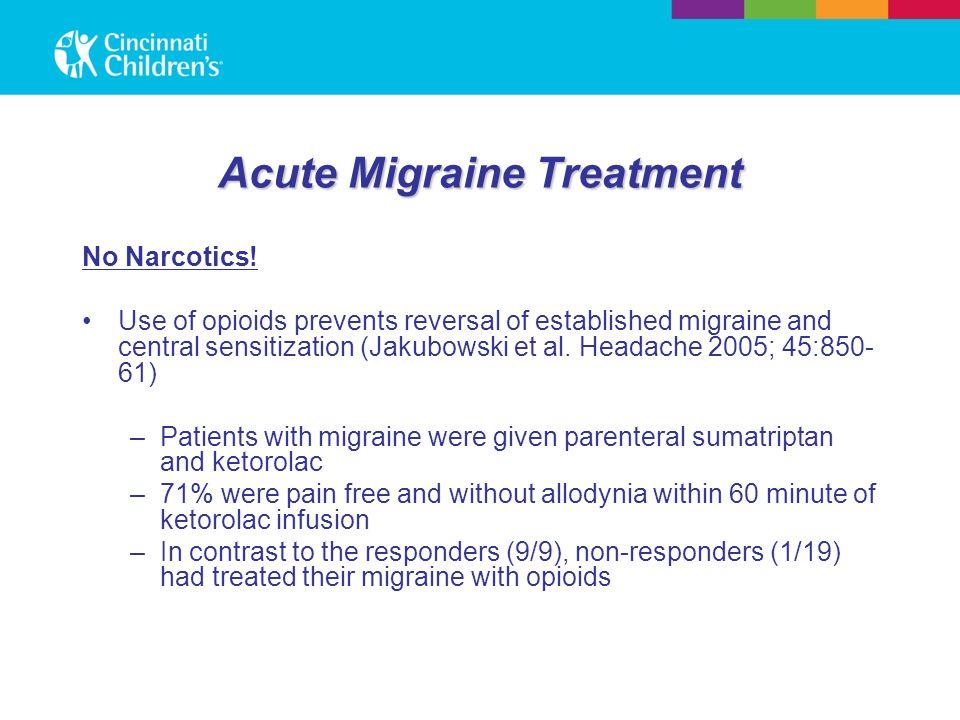 Acute Migraine Treatment No Narcotics.