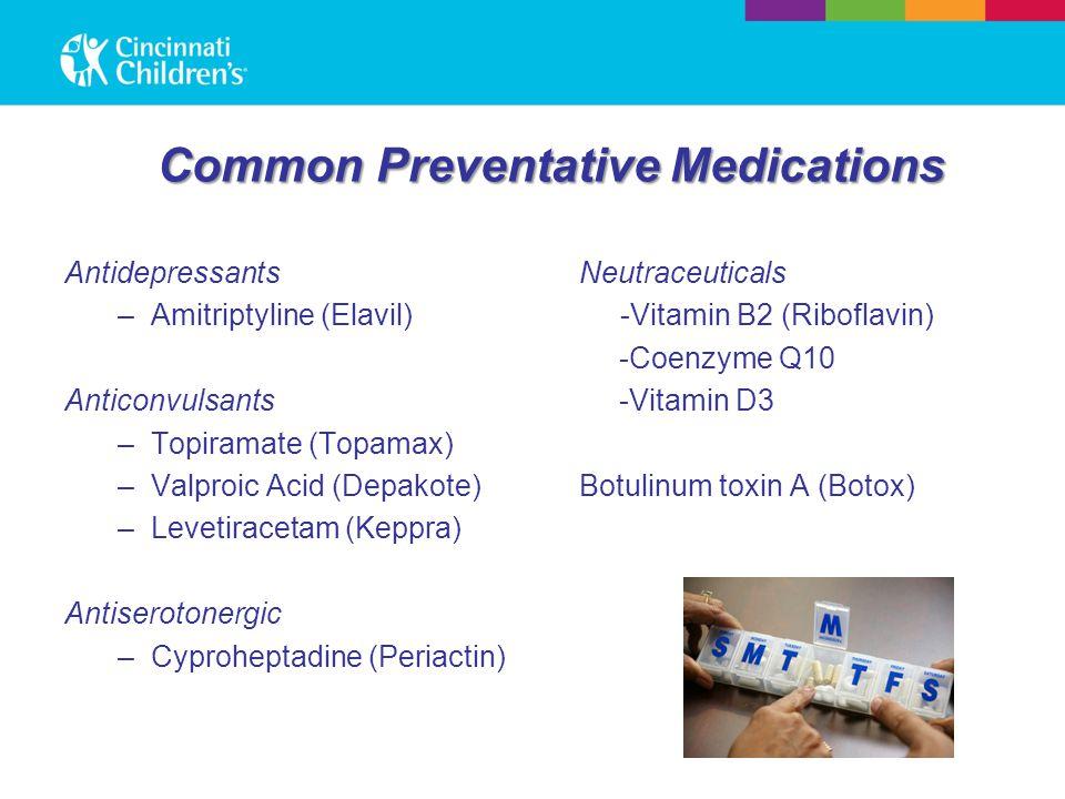 Common Preventative Medications Antidepressants –Amitriptyline (Elavil) Anticonvulsants –Topiramate (Topamax) –Valproic Acid (Depakote) –Levetiracetam (Keppra) Antiserotonergic –Cyproheptadine (Periactin) Neutraceuticals -Vitamin B2 (Riboflavin) -Coenzyme Q10 -Vitamin D3 Botulinum toxin A (Botox)