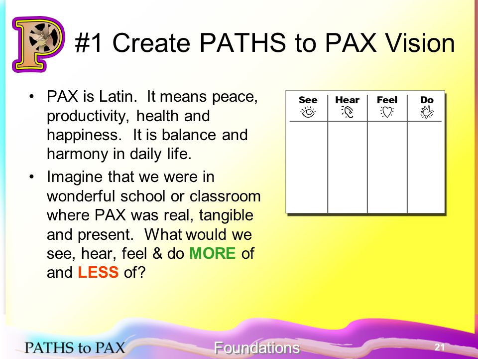 21 #1 Create PATHS to PAX Vision PAX is Latin. It means peace, productivity, health and happiness.