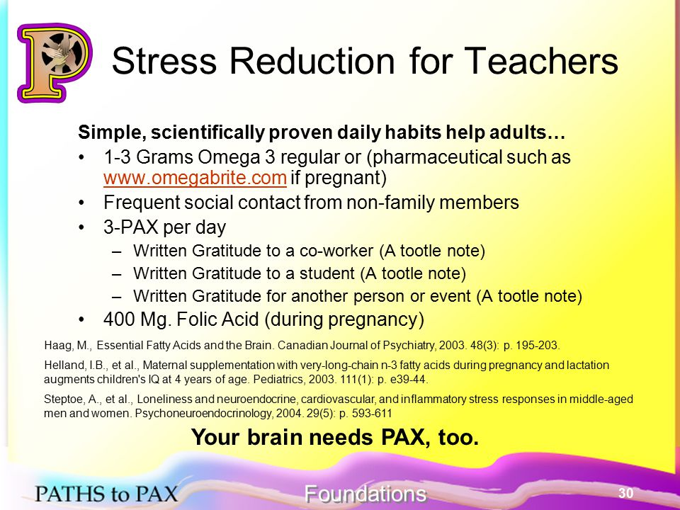 30 Stress Reduction for Teachers Simple, scientifically proven daily habits help adults… 1-3 Grams Omega 3 regular or (pharmaceutical such as www.omegabrite.com if pregnant) www.omegabrite.com Frequent social contact from non-family members 3-PAX per day –Written Gratitude to a co-worker (A tootle note) –Written Gratitude to a student (A tootle note) –Written Gratitude for another person or event (A tootle note) 400 Mg.