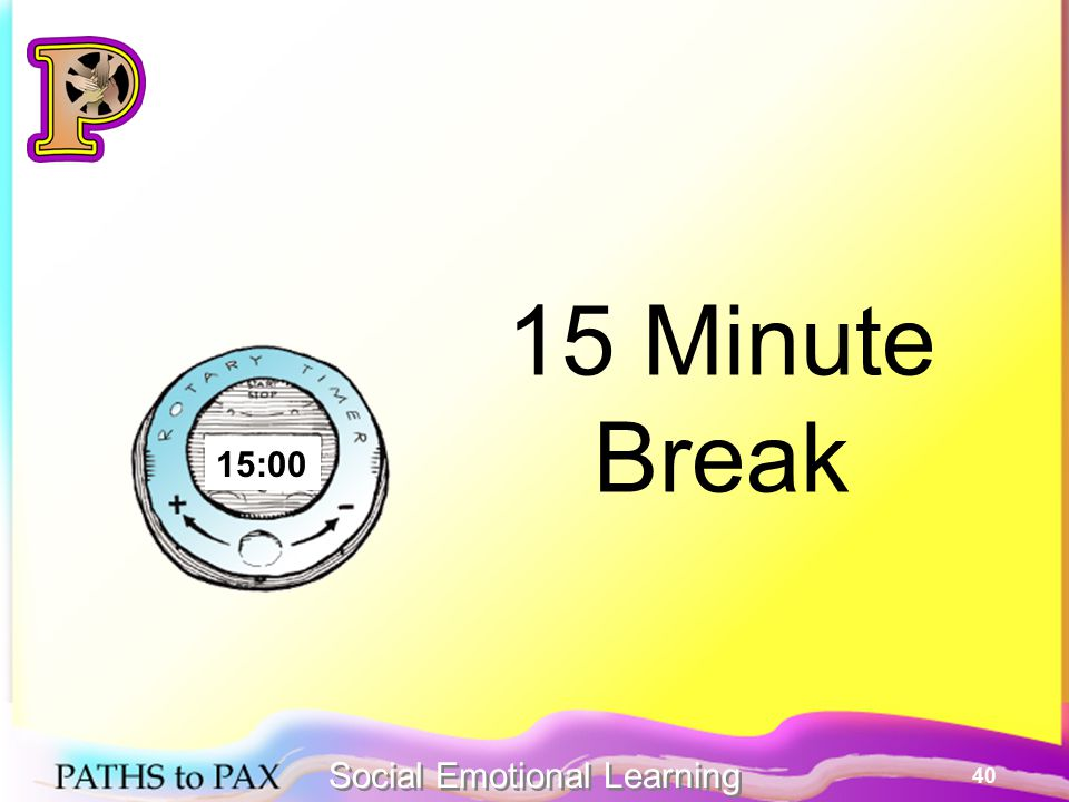 40 15 Minute Break 15:00 Social Emotional Learning
