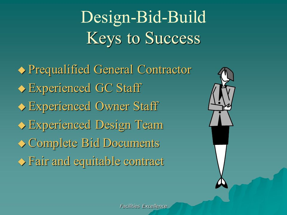 Facilities Excellence  Prequalified General Contractor  Experienced GC Staff  Experienced Owner Staff  Experienced Design Team  Complete Bid Docu