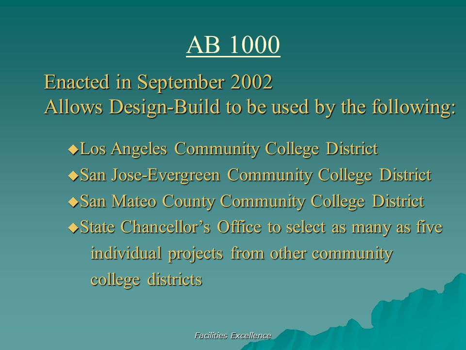 Facilities Excellence AB 1000 Enacted in September 2002 Allows Design-Build to be used by the following:  Los Angeles Community College District  Sa