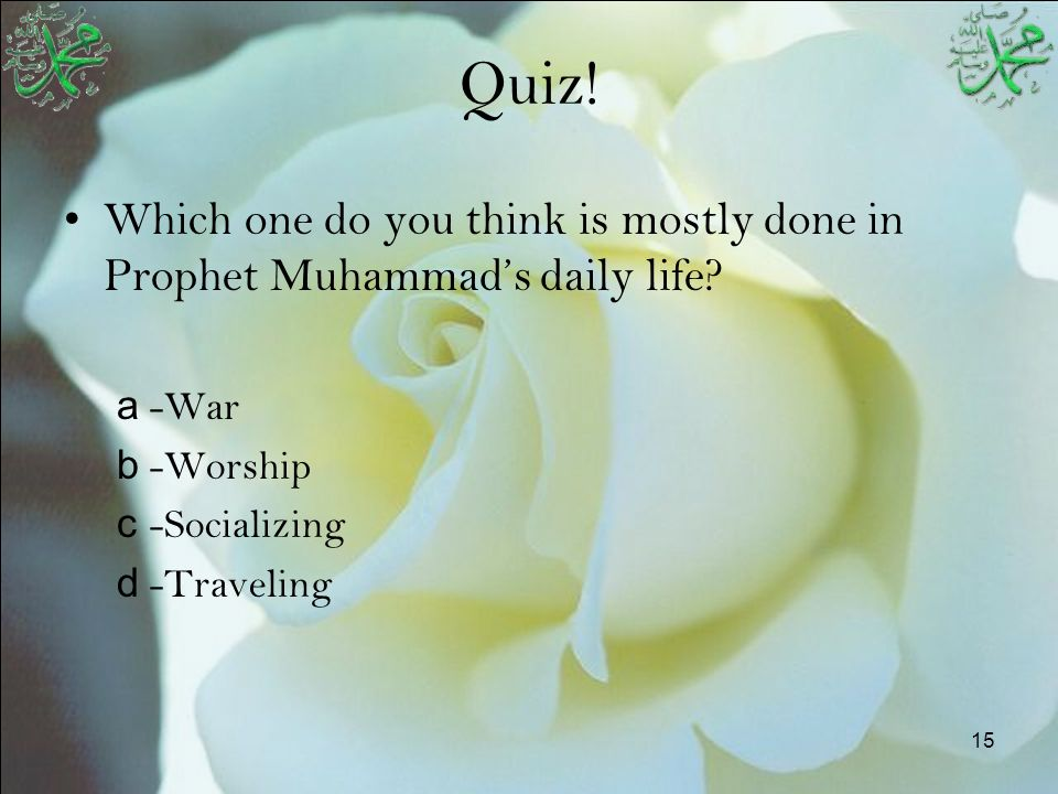 15 Quiz! Which one do you think is mostly done in Prophet Muhammad's daily life? a -War b -Worship c -Socializing d -Traveling