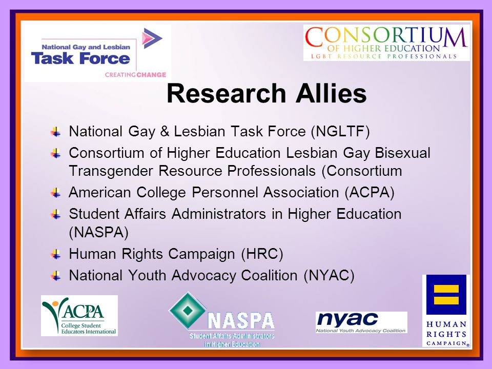 National Gay & Lesbian Task Force (NGLTF) Consortium of Higher Education Lesbian Gay Bisexual Transgender Resource Professionals (Consortium American College Personnel Association (ACPA) Student Affairs Administrators in Higher Education (NASPA) Human Rights Campaign (HRC) National Youth Advocacy Coalition (NYAC) Research Allies