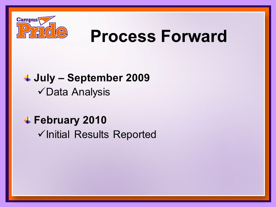 Process Forward July – September 2009 Data Analysis February 2010 Initial Results Reported