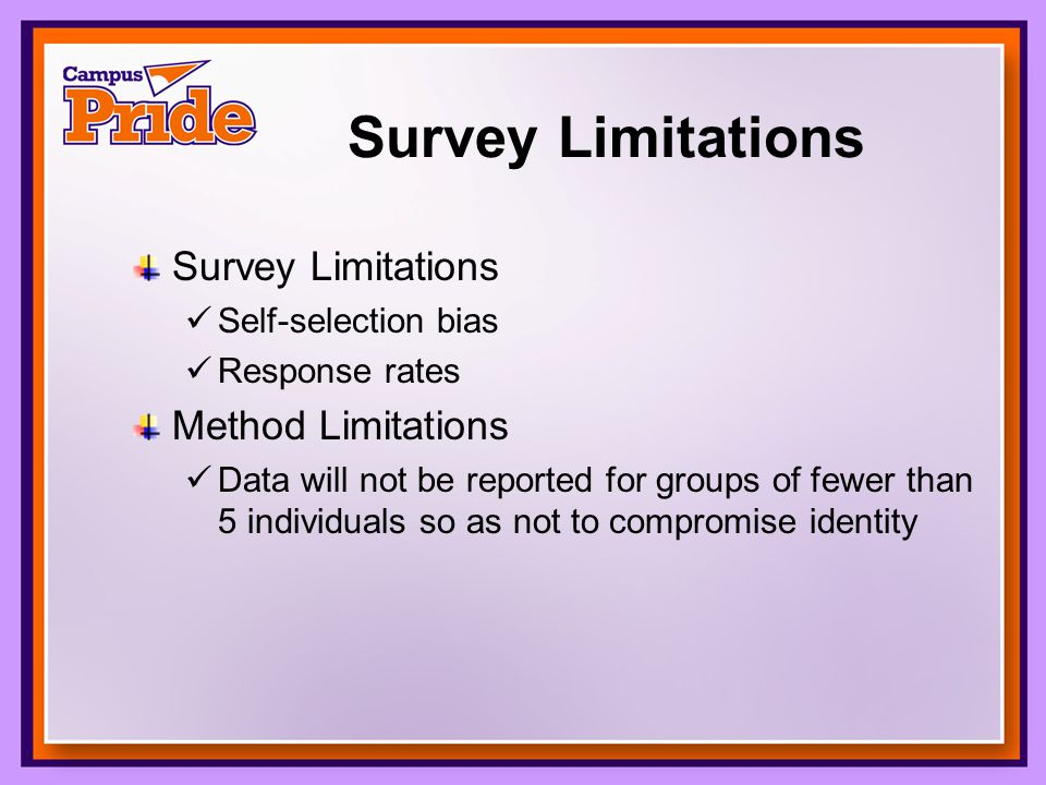 Survey Limitations Self-selection bias Response rates Method Limitations Data will not be reported for groups of fewer than 5 individuals so as not to compromise identity