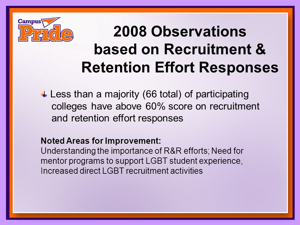 2008 Observations based on Recruitment & Retention Effort Responses Less than a majority (66 total) of participating colleges have above 60% score on recruitment and retention effort responses Noted Areas for Improvement: Understanding the importance of R&R efforts; Need for mentor programs to support LGBT student experience, Increased direct LGBT recruitment activities