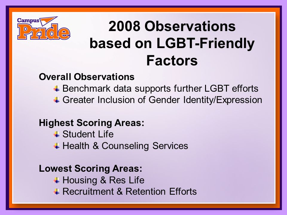 2008 Observations based on LGBT-Friendly Factors Overall Observations Benchmark data supports further LGBT efforts Greater Inclusion of Gender Identity/Expression Highest Scoring Areas: Student Life Health & Counseling Services Lowest Scoring Areas: Housing & Res Life Recruitment & Retention Efforts