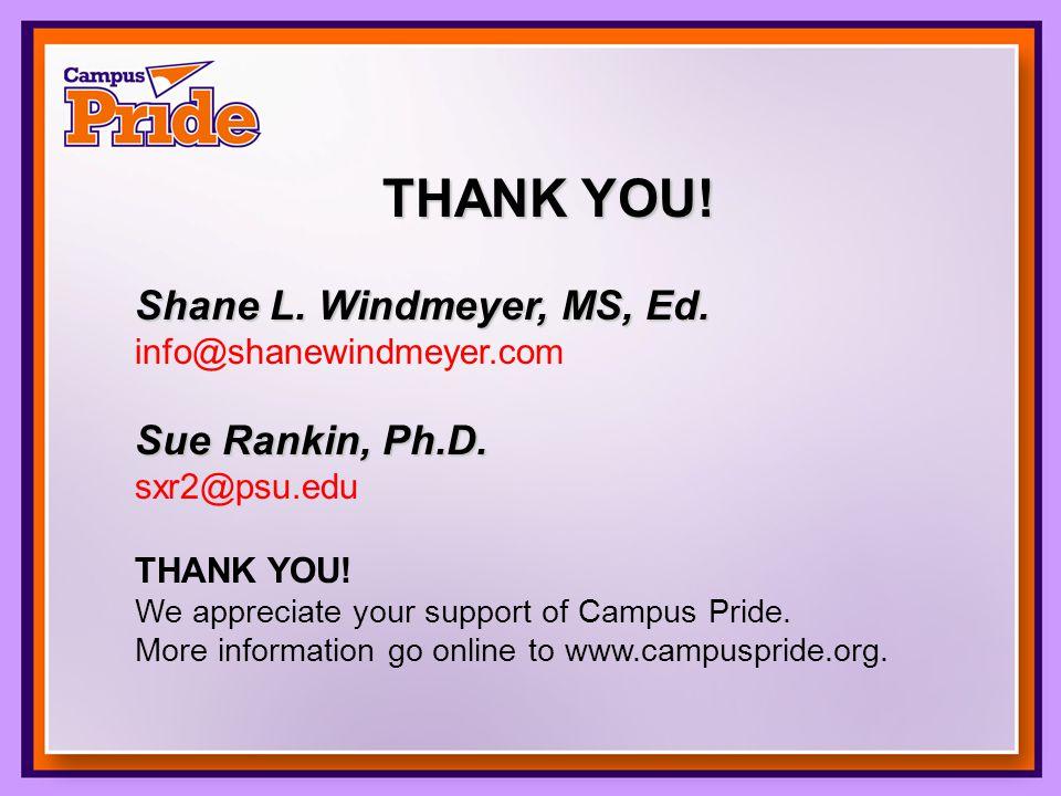 THANK YOU. Shane L. Windmeyer, MS, Ed. info@shanewindmeyer.com Sue Rankin, Ph.D.
