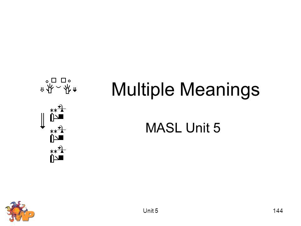 Unit 5144 Multiple Meanings MASL Unit 5
