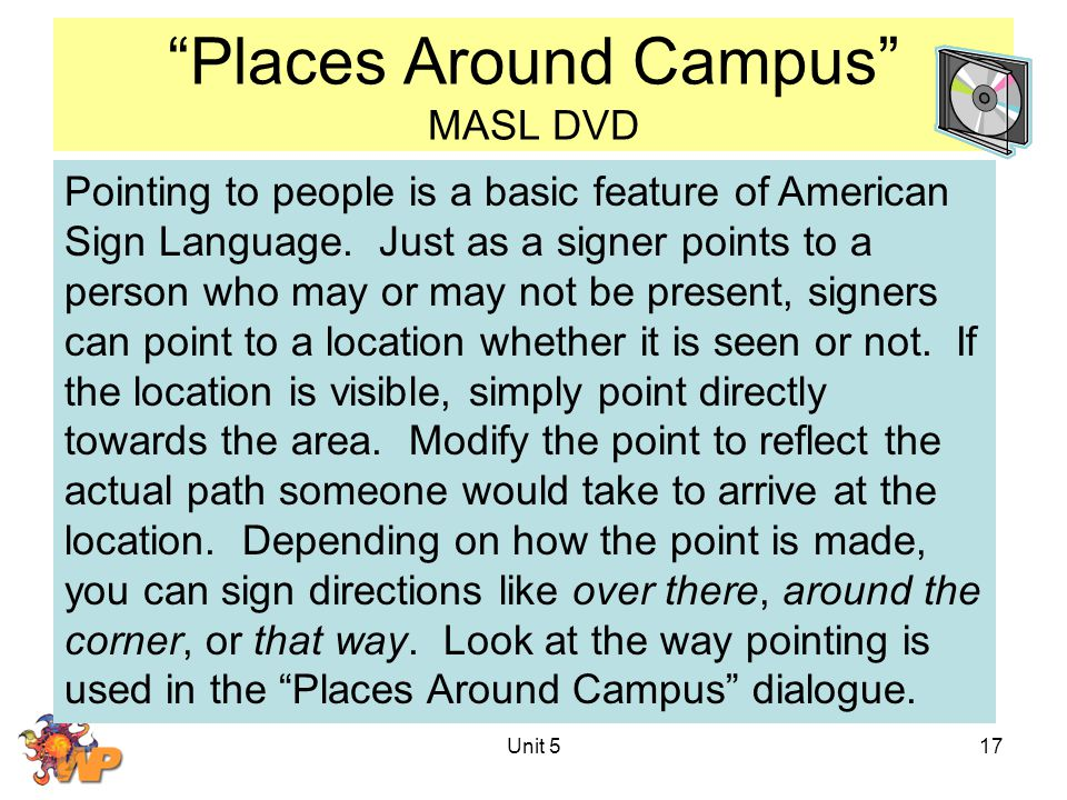 Unit 517 Places Around Campus MASL DVD Pointing to people is a basic feature of American Sign Language.