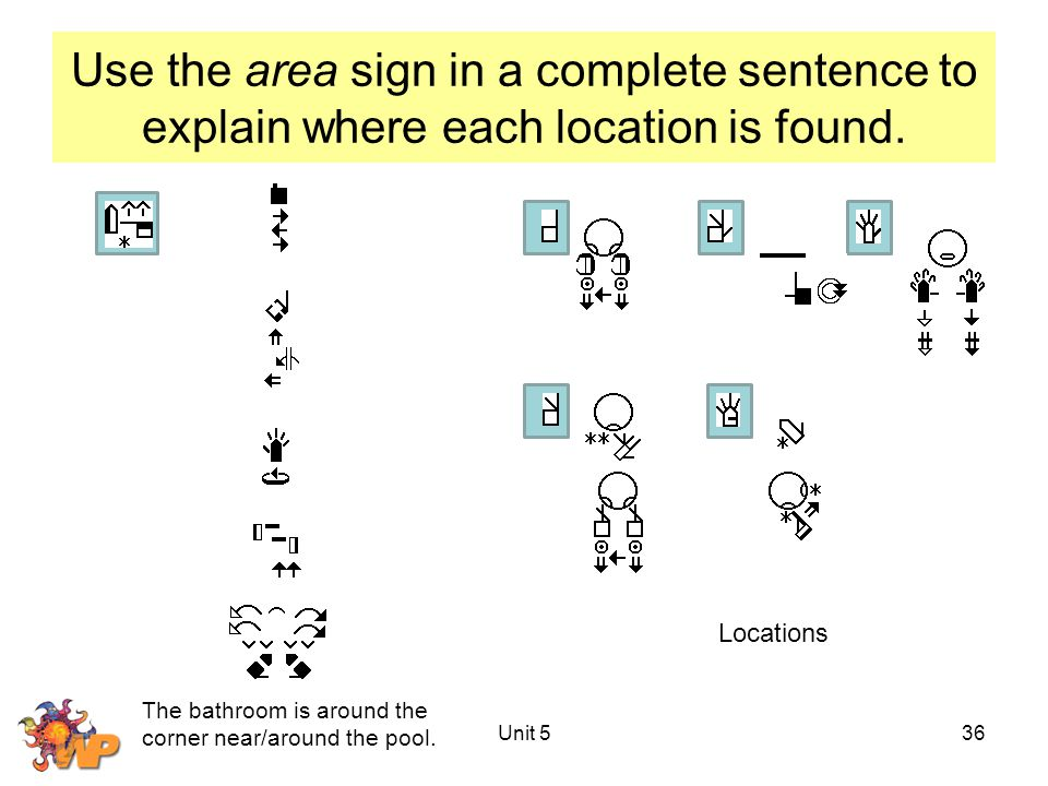 Use the area sign in a complete sentence to explain where each location is found.
