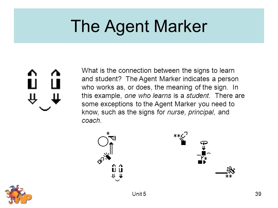 Unit 539 The Agent Marker What is the connection between the signs to learn and student? The Agent Marker indicates a person who works as, or does, th