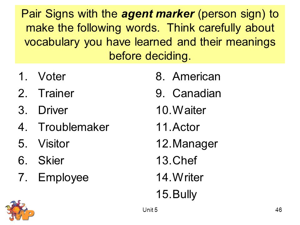 Pair Signs with the agent marker (person sign) to make the following words. Think carefully about vocabulary you have learned and their meanings befor
