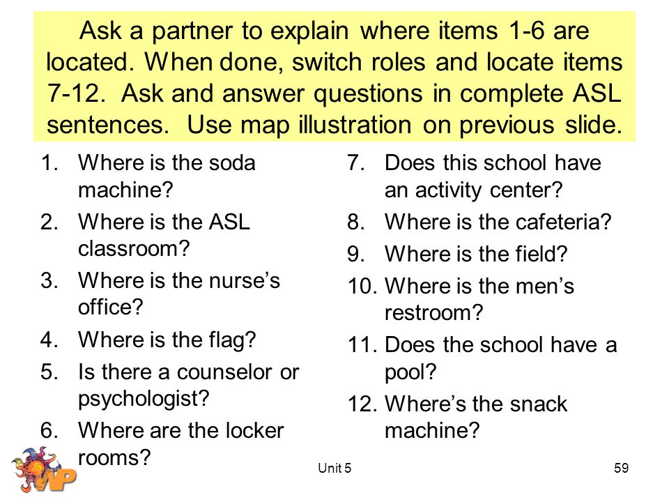 Ask a partner to explain where items 1-6 are located.