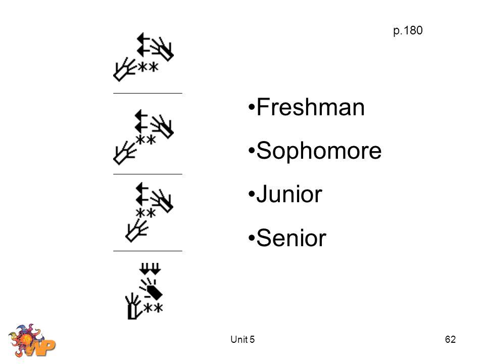 Unit 562 p.180 Freshman Sophomore Junior Senior