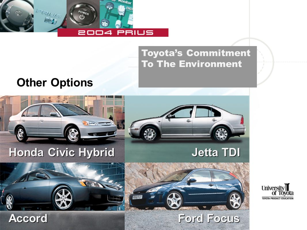 Other Options Honda Civic Hybrid Accord Jetta TDI Ford Focus Toyota's Commitment To The Environment