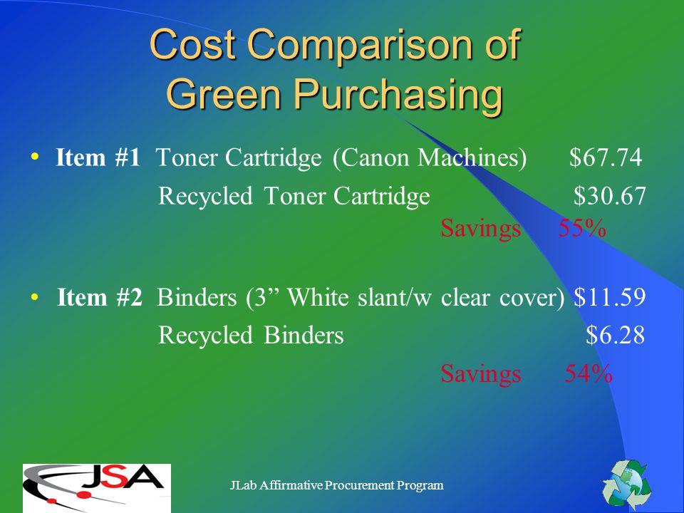 JLab Affirmative Procurement Program Why Green Purchasing.