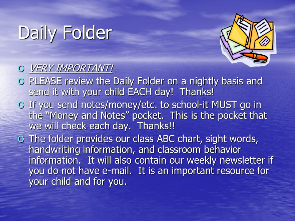 Daily Folder o VERY IMPORTANT.