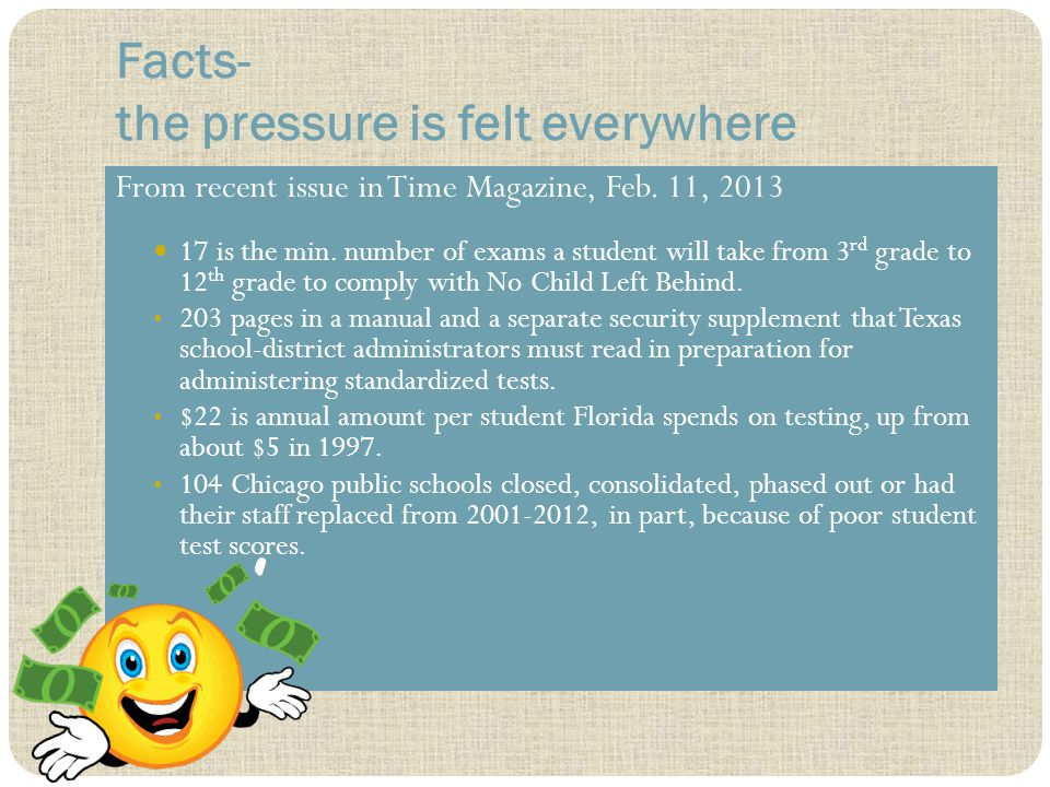 Facts- the pressure is felt everywhere From recent issue in Time Magazine, Feb.