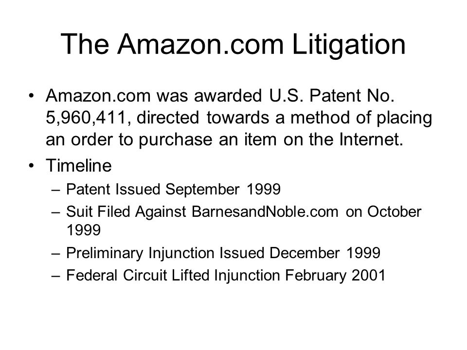 The Amazon.com Litigation Amazon.com was awarded U.S.