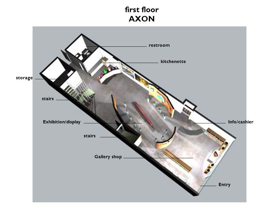 first floor AXON Gallery shop Entry Exhibition/displayInfo/cashier kitchenette restroom stairs storage stairs