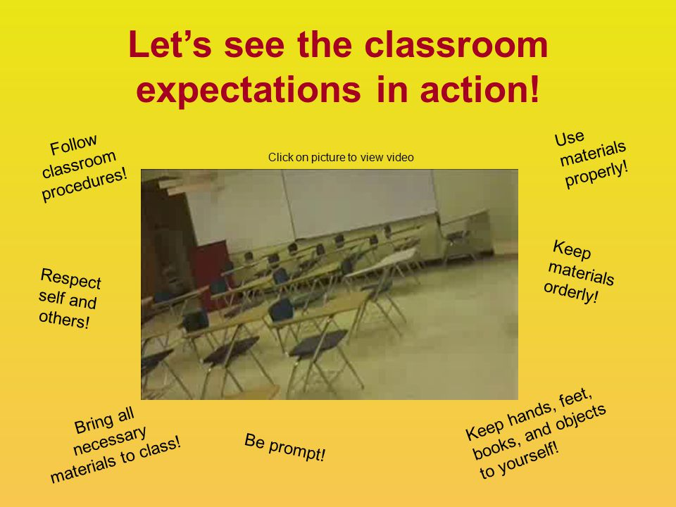 Let's see the classroom expectations in action. Follow classroom procedures.