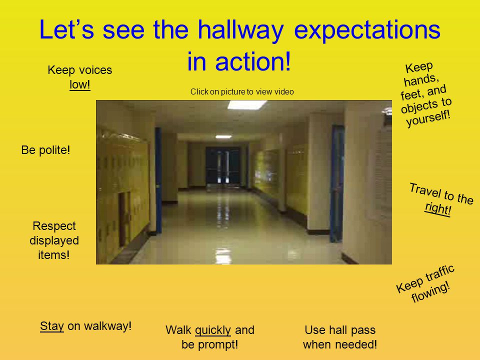 Let's see the hallway expectations in action. Keep voices low.