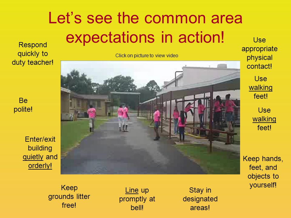 Let's see the common area expectations in action. Respond quickly to duty teacher.