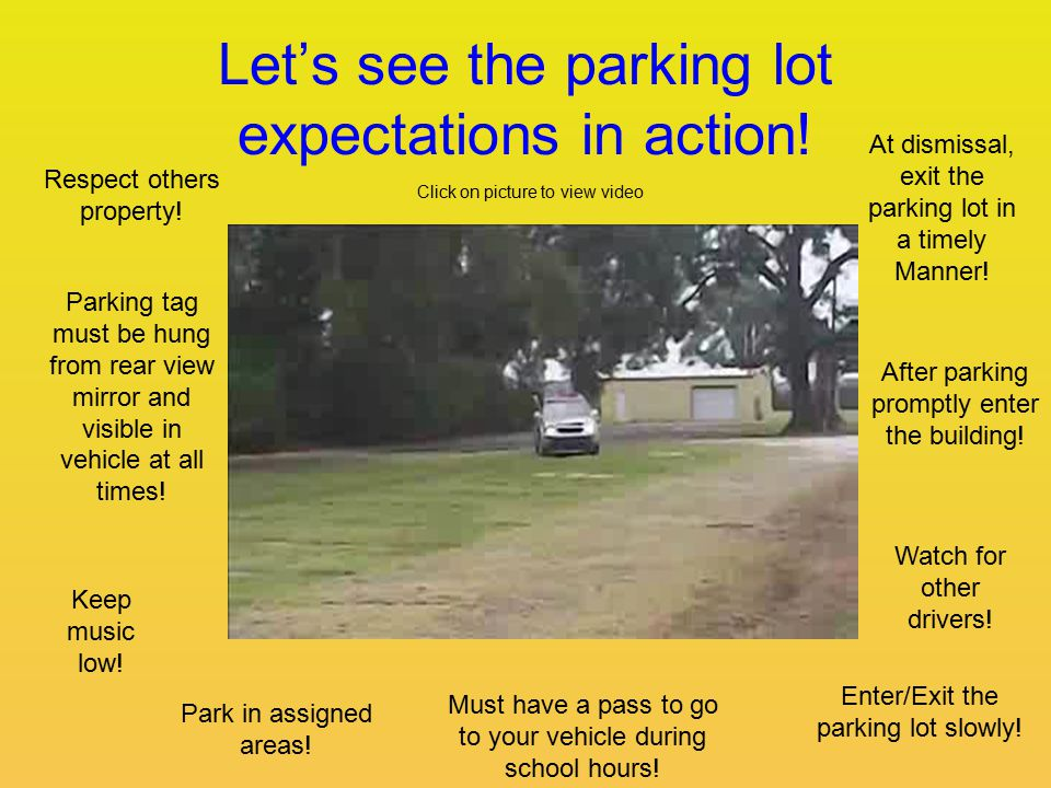 Let's see the parking lot expectations in action. Respect others property.