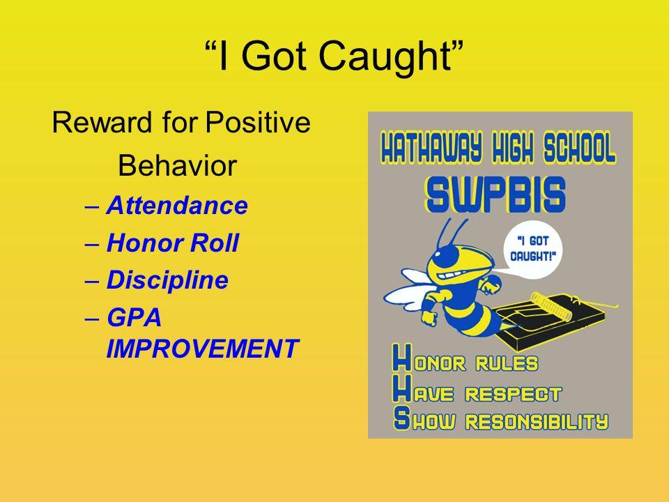 """I Got Caught"" Reward for Positive Behavior –Attendance –Honor Roll –Discipline –GPA IMPROVEMENT"