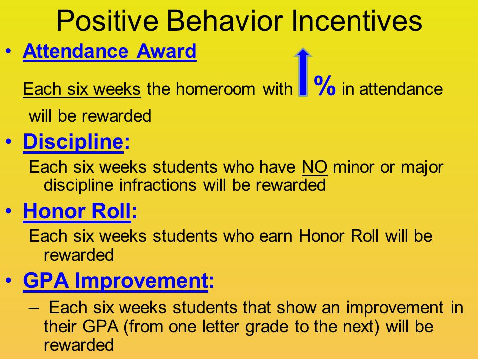 Positive Behavior Incentives Attendance Award Each six weeks the homeroom with % in attendance will be rewarded Discipline: Each six weeks students who have NO minor or major discipline infractions will be rewarded Honor Roll: Each six weeks students who earn Honor Roll will be rewarded GPA Improvement: – Each six weeks students that show an improvement in their GPA (from one letter grade to the next) will be rewarded