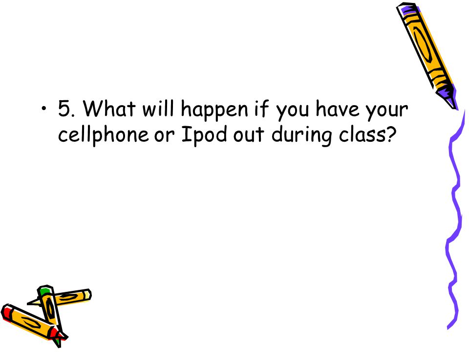 5. What will happen if you have your cellphone or Ipod out during class?