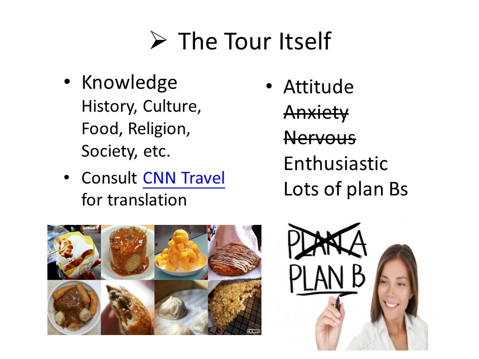  The Tour Itself Knowledge History, Culture, Food, Religion, Society, etc.
