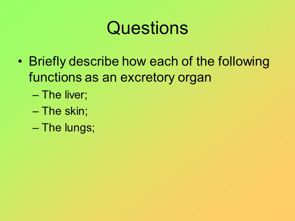 Questions Briefly describe how each of the following functions as an excretory organ –The liver; –The skin; –The lungs;