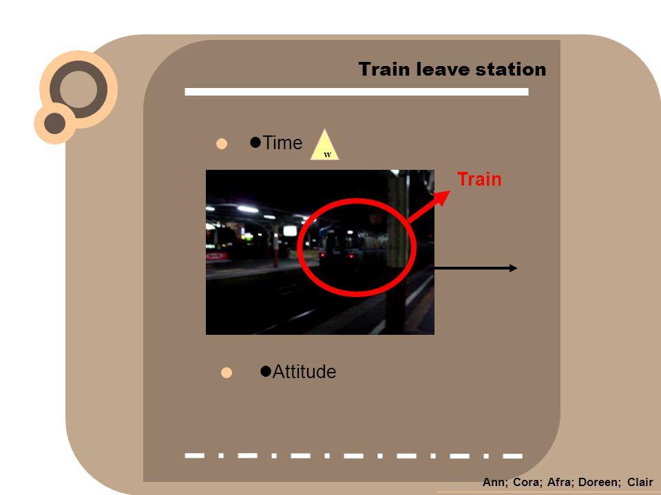 Ann; Cora; Afra; Doreen; Clair w Time Attitude Train leave station Train