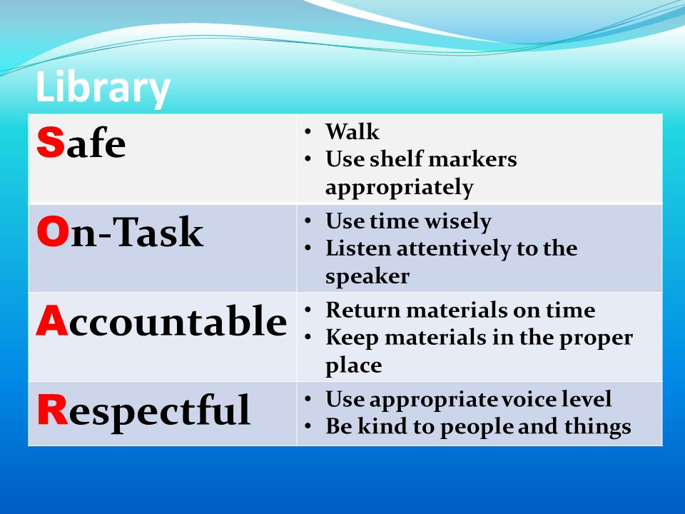 Library S afe Walk Use shelf markers appropriately O n-Task Use time wisely Listen attentively to the speaker A ccountable Return materials on time Keep materials in the proper place R espectful Use appropriate voice level Be kind to people and things